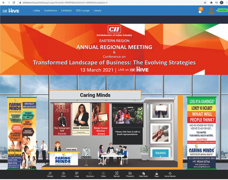 Caring Minds virtual booth at the CII Annual Regional Conference 2021